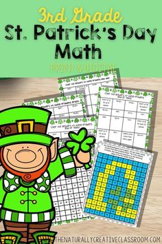 Try your LUCK with these St. Patrick's Day Activities for 3rd grade! These St. Patrick's Day Math worksheets review 2 step word problems, graphing, multiplication fact families, fractions, area & perimeter activities & more! includes addition, subtraction, multiplication & division. 120 problem math hidden picture, puzzles &bcodes! Ready to go DIGITAL & PRINT! Perfect for St. Patrick's Day math centers, early finishers for 3rd, at home learning & test review. #thenaturallycreativeclassroom 3rd Grade Activities, Fraction Activities, Fun Math Games, 3rd Grade Math, Party Games, Multiplication Facts, Math Fractions, Math Exercises, Spiral Math
