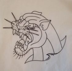 Neo traditional Panther outline