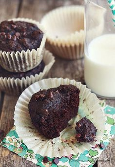 Fudgy Paleo Chocolate Banana Muffins.  NO flour, NO sugar.  These are so good we made them 3 times!