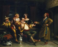 George Henry Hall. Malvolio confronting the revelers. Twelfth Night. Oil on canvas, 1855. Folger Shakespeare Library.