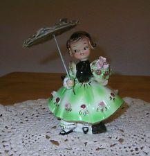 VINTAGE Ceramic Young Girl Figurine label HHB numbered Art Nouveau, Umbrella Girl, Pottery Marks, Vintage Girls, Shabby, Vintage Ceramic, Kitsch, Victorian, Ceramics