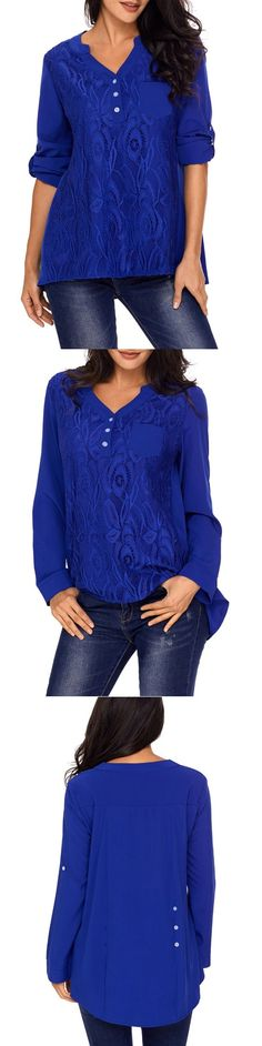 Lace Panel V Neck High Low Blouse #valentinesday Tee T Shirt, Shirt Blouses, Shirts, Women's Tops, Clothing Ideas, High Low, V Neck, My Style, Lace