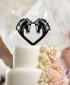 Horses Cake Toppers in Heart, Engagement Wedding Decoration high quality acrylic