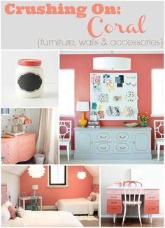 Crushing on: Coral {furniture, walls and accessories} - Home Decorating DIY Coral Walls Bedroom, Bedroom Turquoise, Bedroom Wall, Girls Bedroom, Bedroom Ideas, Bedrooms, Master Bedroom, Bedroom Decor, Living Room Accessories