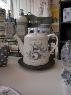 GreenGate Ceramic Audrey Grey ~ I don't need another tea pot, but this is really cute.