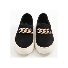 Synthetic Suede Chain Slip-on Shoes #womens #fashion