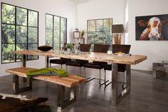 Massiver Baumstamm Tisch MAMMUT 300cm Akazie Massivholz Industrial Look Kufengestell Esstisch mit 6cm Tischplatte