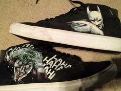 c42d62ff7647 Mom Paints Custom Batman Converse Shoes for Son