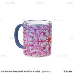 Hand Drawn Pretty Pink And Blue Mandala Flower Ringer Coffee Mug