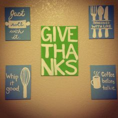DIY kitchen wall decor...i'd have to use stencils.