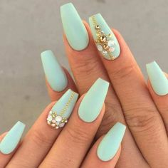 Mint Coffin Nails with Gold Details