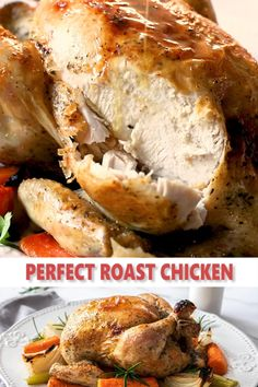 Baked Whole Chicken Recipes, Oven Roasted Whole Chicken, Perfect Roast Chicken, Easy Roast Chicken, Cooking Whole Chicken, Roast Chicken Recipes, Healthy Chicken Recipes, Cooking Recipes, Baked Whole Chickens