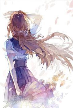Anime girl school uniform