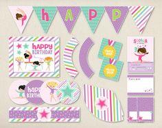 Gymnastics Birthday Party Package Kit  Invites by PricklyPress