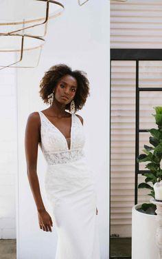 SIMPLE V-NECKLINE WEDDING DRESS WITH LACE APPLIQUE-TRAIN Wedding Dress Necklines, V Neck Wedding Dress, Wedding Gowns, Bridal Gowns, Bridal And Formal, White Bridal, Essence Of Australia Wedding Dress, Essense Of Australia, Bridal Stores