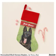 Personalized Black German Shepherd Dog - GSD Puppy Christmas Stocking Pet Christmas Stockings, Christmas Puppy, Christmas Animals, Black German Shepherd Dog, Santa Claus Is Coming To Town, Gsd Puppies, Christmas Card Holders, Doge, Pets