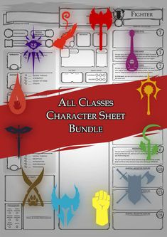 Class Character Sheets - The Bundle - Dungeon Masters Guild Dungeons And Dragons Classes, Dungeons And Dragons Characters, Dungeons And Dragons Homebrew, Dnd Characters, Mazes And Monsters, Dnd Monsters, Dnd Character Sheet, Character Creation, Masters