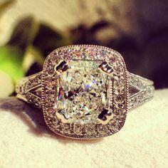 Kirk Kara engagement ring from the Carmella collection | Cushion cut halo engagement ring | detailed engagement ring |  artful engagement ring | romantic and vintage engagement ring | beautiful engagement ring | kirkkara.com | Design K1440DC-R