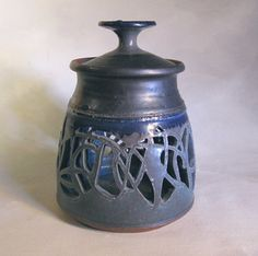 Lantern - vintage 1970s studio pottery candle holder in arts & crafts style.