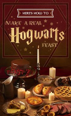 "Check our very own guide to creating a Hogwart's-style feast, including recipes for pumpkin pasties, treacle tarts, roast beef with Yorkshire pudding and (of course) Butterbeer. 34 Magical Ideas For The Ultimate ""Harry Potter"" Party Harry Potter Marathon, Harry Potter Motto Party, Harry Potter Fiesta, Harry Potter Thema, Mundo Harry Potter, Theme Harry Potter, Harry Potter Wedding, Harry Potter Birthday, Harry Potter Parties"