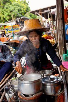 selling street food, village south of Bangkok, Thailand