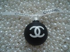 CHANEL INSPIRED MATTE BLACK GLASS CHRISTMAS TREE ORNAMENT WITH CHANEL RIBBON SMALL