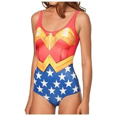 One Piece Wonder Woman Cape Suit Swimsuit ($3.70) ❤ liked on Polyvore featuring swimwear, one-piece swimsuits, one piece swim suit, sports swimwear, sports bathing suits, swimming costume and swimsuit swimwear