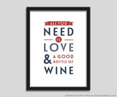 Typography Poster  All you need is Wine  by Halfbakedpress on Etsy, £5.00