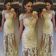 Summer Evening Dresses Sexy Arabic Evening Gowns 2016 Lace Applique Beads Sheer Floor Length Mermaid Prom Party Dresses Plus Size Jewel Neck Cap Sleeves White Formal Gowns From Marrysa, $163.28  Dhgate.Com