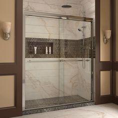 """DreamLine DL-6953L-01CL Duet Frameless Bypass Sliding Shower Door and SlimLine 36"""" by 60"""" Single Threshold Shower Base"""