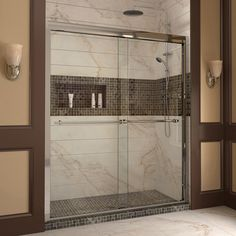 "DreamLine DL-6953L-01CL Duet Frameless Bypass Sliding Shower Door and SlimLine 36"" by 60"" Single Threshold Shower Base"