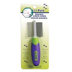 Lil Pals Double Sided Dog Comb 2pcs, Coastal Pets -  It has wide and narrowly spaced teeth on its sides. The wider teeth helps eliminate tangles and mats while the finer teeth help finish grooming. Lil Pals Double-Sided Comb Double-sided comb with wide and narrow spaced teeth Helps remove tangles and groom Comfortable handle Durable and long lasting Lil Pals Double-Sided Comb helps lift out loose hair and debris