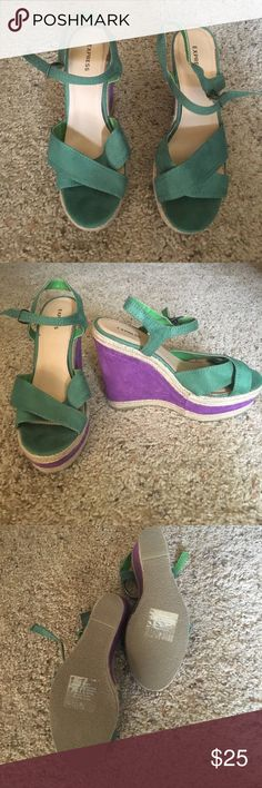 Shoes Express wedges. Straps are faux suede in green. Wedge faux suede in purple. Braided twine trimming. Never worn. 4 inch heels Express Shoes Wedges