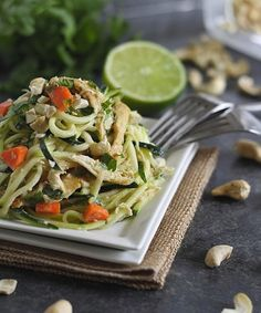 These Thai chicken zucchini noodles are made with zucchini pasta and coated in a creamy peanut Thai sauce for a healthier version of takeout. Paleo Recipes, Asian Recipes, Real Food Recipes, Chicken Recipes, Dinner Recipes, Cooking Recipes, Yummy Food, Drink Recipes, Free Recipes