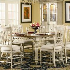 Hooker Furniture Summerglen Oval Dining Table with Leaves in Antique White transitional dining tables