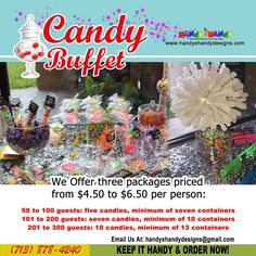 🍫🍫 Candy Buffet 🍭 We Offer Three (3) packages priced from $4.50 to 6.50 per person! 🍬 🍫🍫 Any questions, cares, or concerns please feel free to contact us via email/phone/text: handyshandydesigns@gmail.com or (713) 878-4240. Keep it Handy 🖐️🖐️ and Order now!! 🖐️🖐️ 🍫🍫 #HandyCandy #CandyBuffet