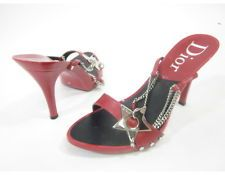 AUTH DIOR Red Leather Silver Tone Star Chain Strappy Sandals Pumps Sz 39 9
