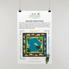 """Playful Square Deep Breathing Poster 11"""" x 17"""" Anger Coping Skills, Coping Strategies For Stress, Coping With Stress, School Counseling Office, Dealing With Anger, How To Handle Stress, Angry Child, Deep Breathing Exercises"""