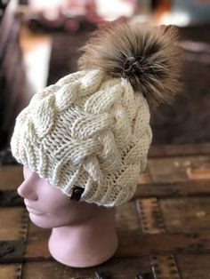 84a63407f11 Fisherman Braided Cable Beanie Fox Tail Faux Fur Pom – KitchenKlutter