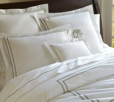 Pearl Embroidered Duvet Cover, Full/Queen, Thyme Green from Pottery Barn