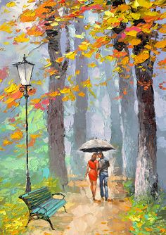 Autumn kiss  original oil on canvas painting by by spirosart