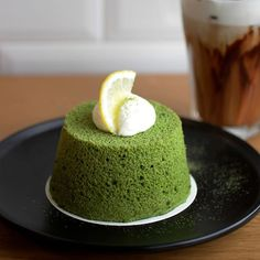 | March 10。Dessert。Green Tea Chiffon Cake | Life could be very simple yet interesting. A cup of Iced Mocha with a piece of Green Tea Chiffon Cake. Looks like I m mixing two drinks in one. Love the fluffy of the Chiffon Cake. Yum!