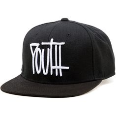 Infinite Society NY The Youth Strapback Hat in Black ($35) ❤ liked on Polyvore featuring men's fashion, men's accessories, men's hats, black and mens snapback hats