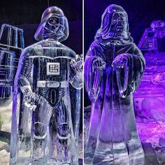 Figuras de hielo de #starwarstheforceawakens #hielo #starwars #starwarsonice #darthvader #starwarseverywhere