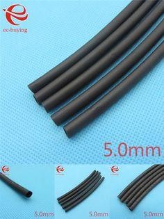 [Visit to Buy] 1m Heat Shrink Tubing Insulation Sleeving Heatshrink Tubing 125 Celsius Black Tube Wire Wrap Cable Kit Inner Diameter 5mm #Advertisement