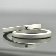 Black Diamond Ring Set - Sterling Silver - Matte Finish - Alternative Engagement Rings - Simple Wedding Bands - Eco Friendly