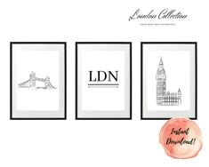 ART PRINT   City Collection   Art Print Sets   Digital Download or Physical Print   B&W, London   Wall Art   Home Décor White Art, Black And White, Group Art, London City, Decoration, Digital Art, Collections, Art Prints, Handmade Gifts