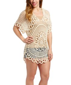 Look at this Monique Leshman Ivory Crochet Sunburst Hoodie on #zulily today!