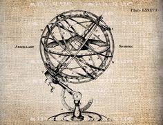 Antique World Map Illustration  Digital Download for Papercrafts, Transfer, Pillows, etc Burlap No. 1215. $1.00, via Etsy.