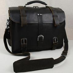 Vintage Handmade Crazy Horse Leather  Traveling Bag. Backpack / Messenger